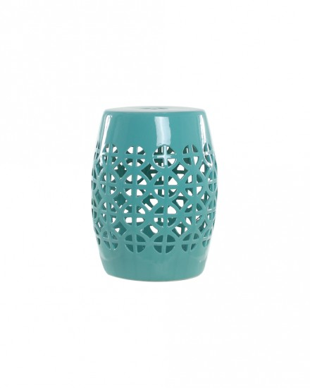 Green Ceramic Lattice Stool