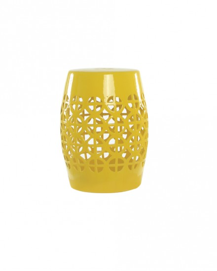 Yellow Ceramic Lattice Stool
