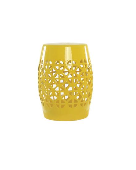 Yellow Ceramic Lattice Stool