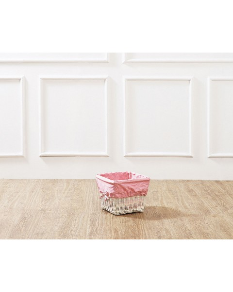 White Leyla Rattan Basket with Pink Liner