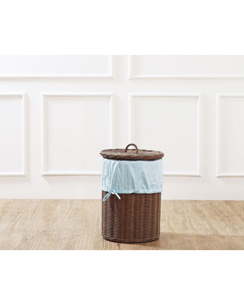 Brown Leyla Rattan Laundry Basket with Blue Liner