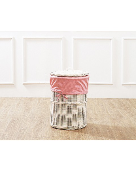 White Leyla Rattan Laundry Basket with Pink Liner