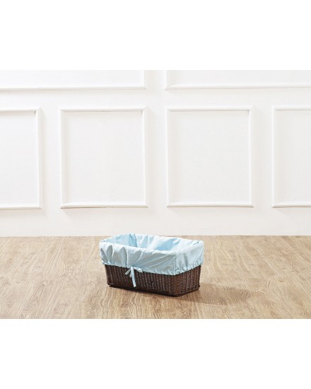 Brown Leyla Rectangular Rattan Basket with Blue Liner