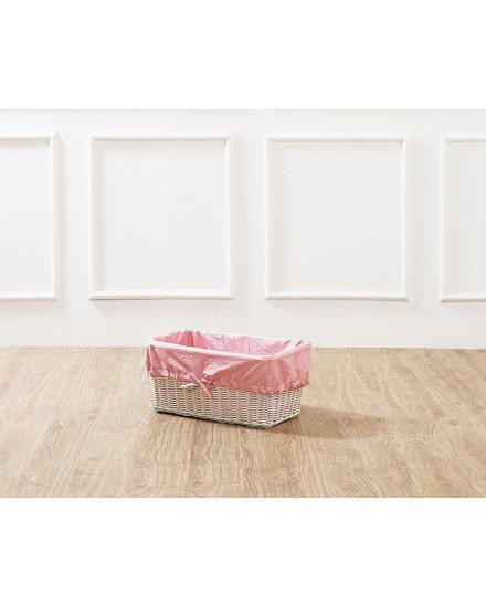 White Leyla Rectangular Rattan Basket with Pink Liner
