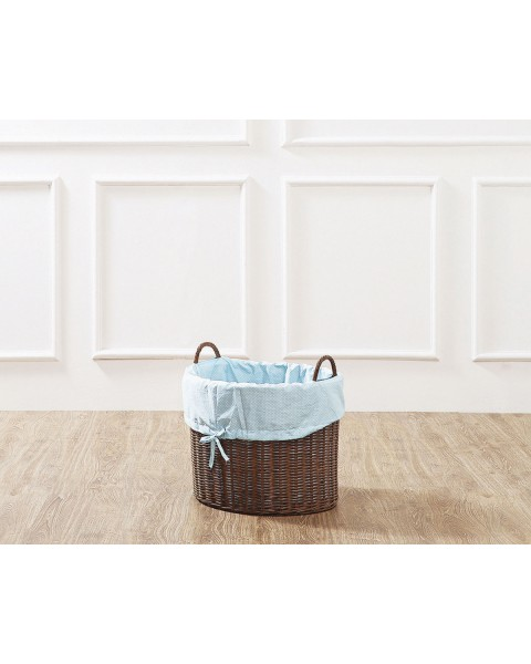 Brown Leyla Rattan Toy Basket with Blue Liner