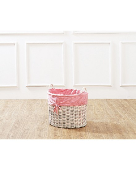 White Leyla Rattan Toy Basket with Pink Liner
