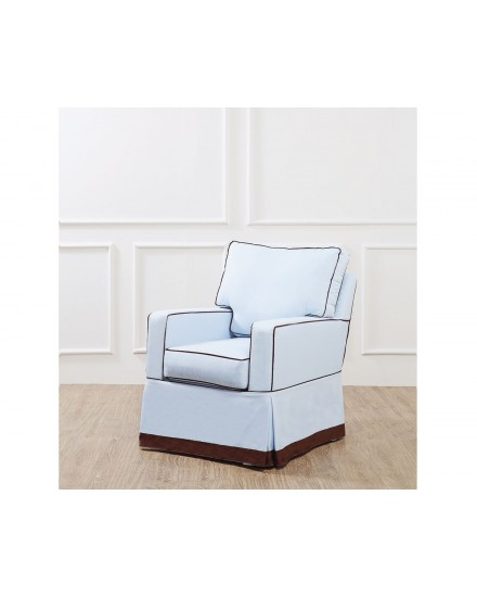 DARREN ROCKING CHAIR BODY BLUE WITH PIPING BROWN