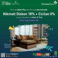 In celebration of Permata Bank's 18th Anniversary, we are giving you an exclusive offer of 18% Off for our Sofa and Hard Furnishing with using Permata Bank Debit or Credit Card for your purchase. . For more information, you can visit our website at www.arborandtroy.com or contact our Whatsapp business on 0813 8198 0512. . #comfortwitharborandtroy #arborandtroy #furniture