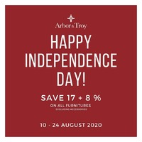 Happy Independence Day! . In celebration of Indonesia's 75th Independence Day, Arbor & Troy is giving you a special promo of 17% + 8% (promo valid for all furniture, excluding accessories) . For more information, you can visit our website at www.arborandtroy.com or contact our whatsapp business on 0813 8198 0512. . #arborandtroy #comfortwitharborandtroy #newnormal #furniture