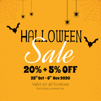 Trick or Treats 👻👻 Halloween is here! . Grab our Halloween treats and don't miss out grabbing our furniture for 20%+5% OFF for limited time only! Happy shopping and happy Halloween 🎃🎃 . For more information, you can visit our website at www.arborandtroy.com or contact our whatsapp business on 0813 8198 0512. .  #comfortwitharborandtroy #arborandtroy #newnormal #furniturem